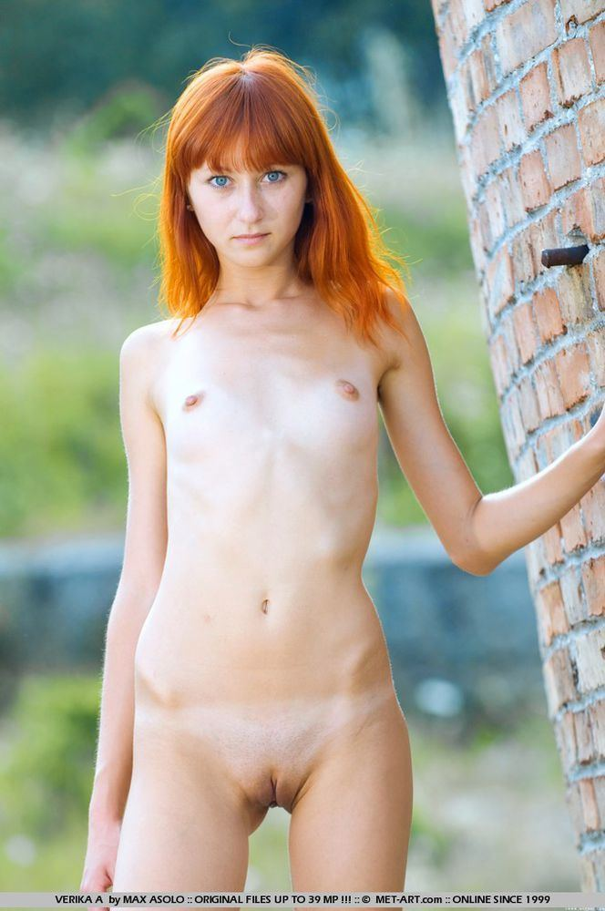 Nude petite auburn haired girl seems