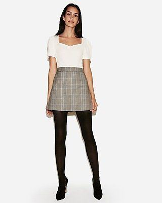 Shiny opaque pantyhose and skirts
