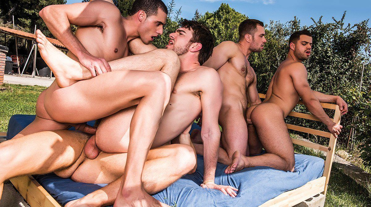 Lascivious five males having a orgy