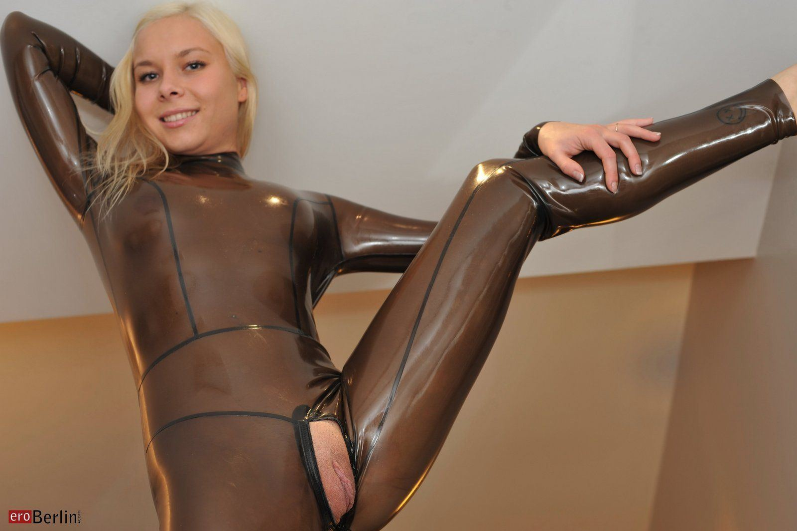 Nude women in latex